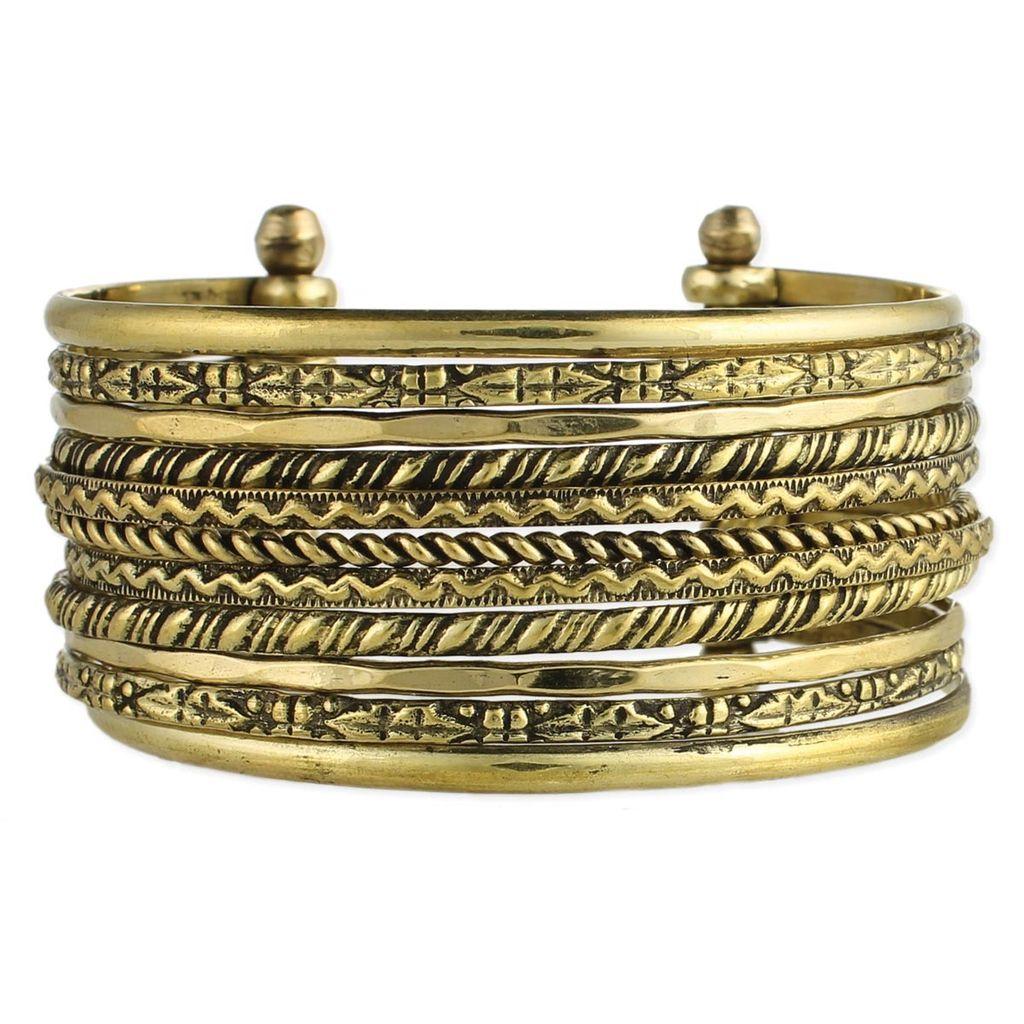 Zad Textured Lines Gold Cuff