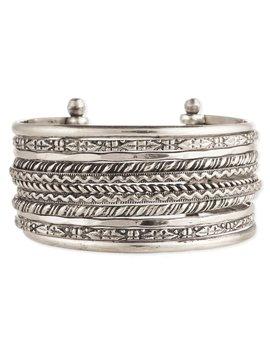 Zad Textured Lines Silver Cuff
