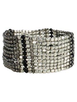 Zad Silver and Black Bead Bracelet