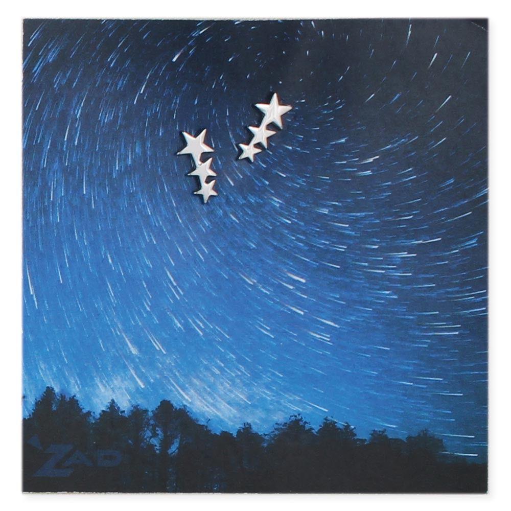 Zad Silver Three Stars Post Earring