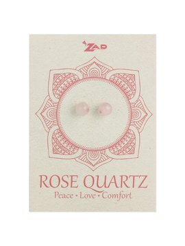 Zad Rose Quartz Round Post Earringz