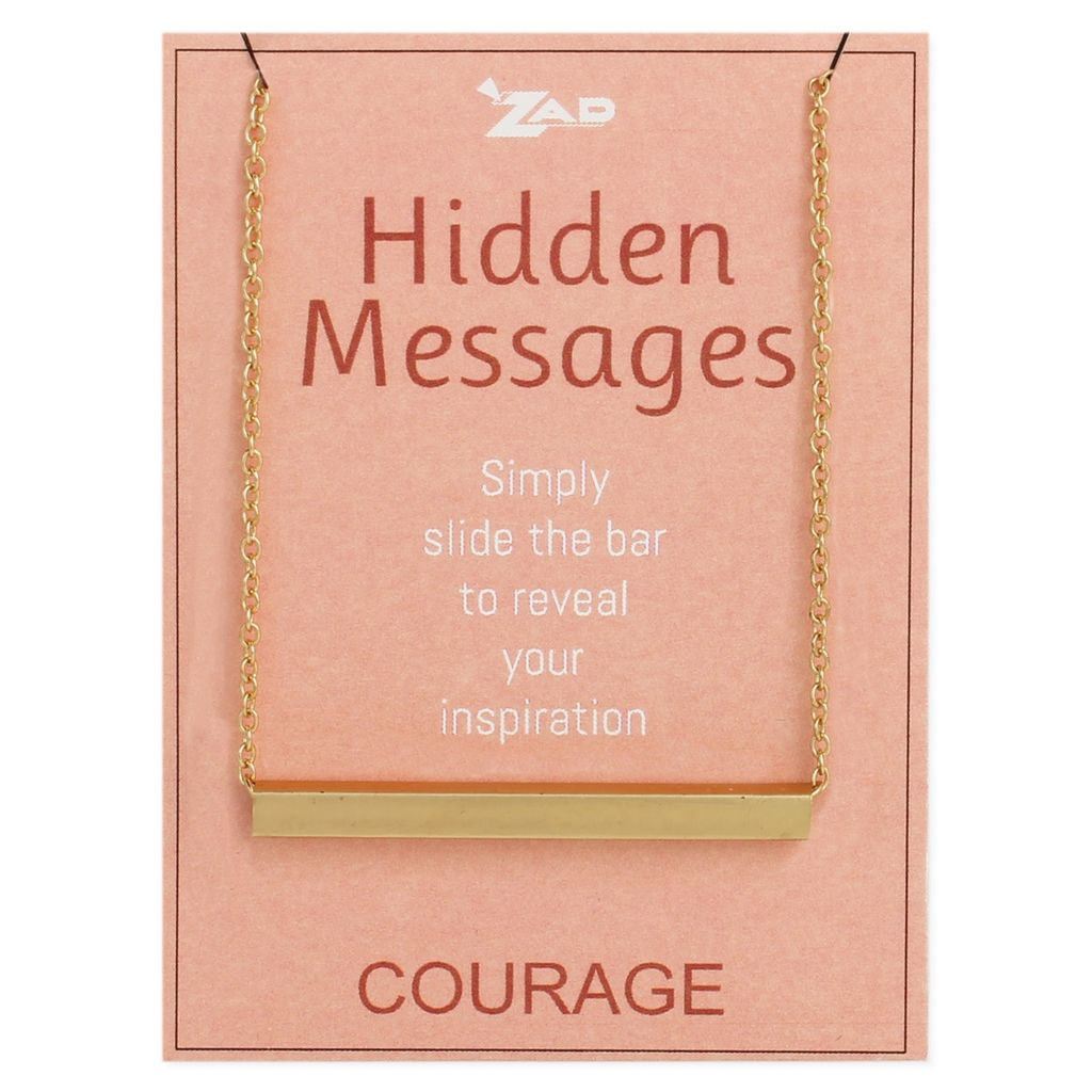 """Gypsy Chic """"Courage"""" Hidden Message Gold Plated Necklace"""
