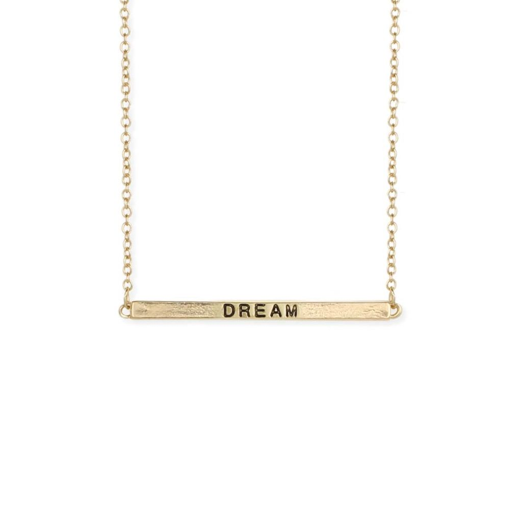 """Gypsy Chic """"Dream"""" Hidden Message Gold Plated Necklace"""