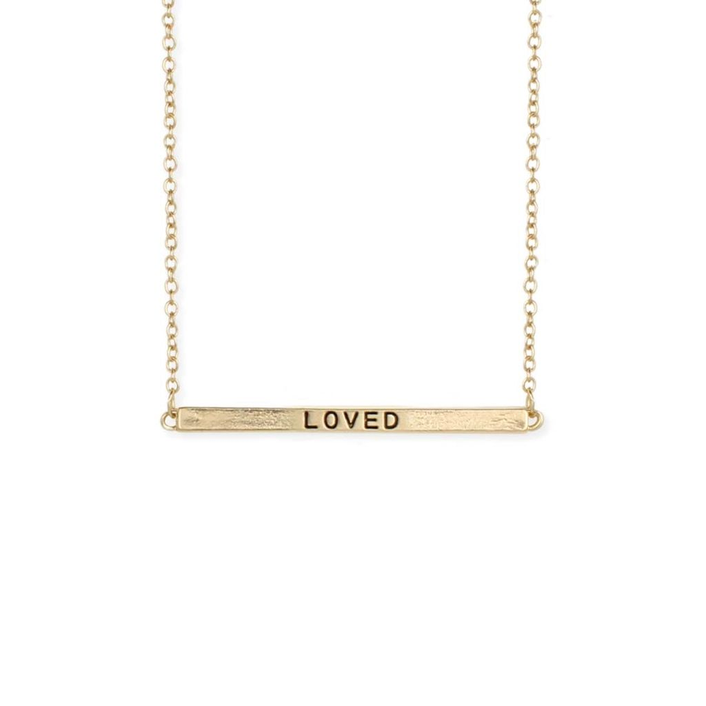 """Gypsy Chic """"Loved"""" Hidden Message Gold Plated Necklace"""
