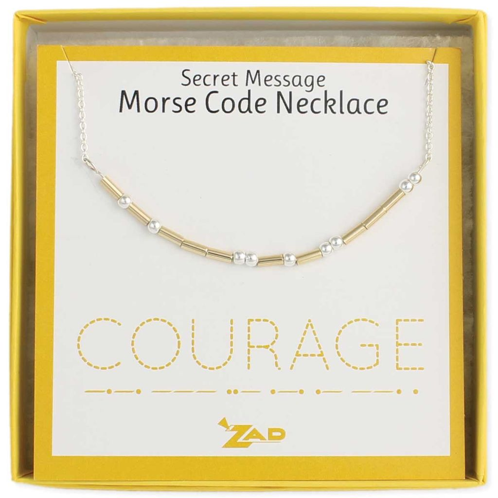 """Gypsy Chic """"Courage"""" Morse Code Necklace"""