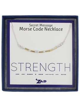 "Gypsy Chic ""Strength"" Morse Code Necklace"