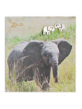 Zad Silver Elephant Post Earrings