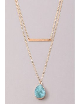 GCB Teardrop Stone Bar Necklace, Aqua