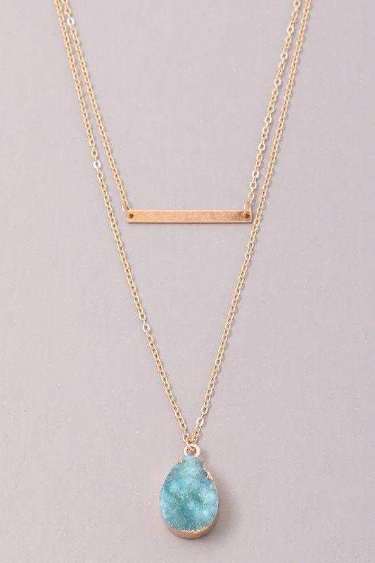 GCB Teardrop Stone Bar Necklace, Aqua