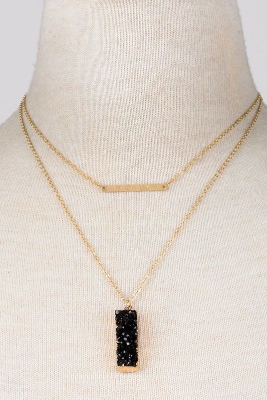 GCB Block Stone Bar Necklace, MInt