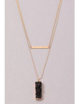 GCB Block Stone Bar Necklace, Black