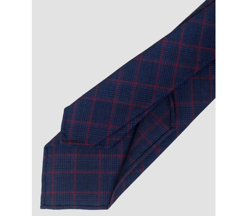 TIE large navy/red plaid