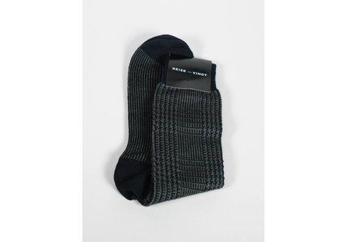 Seize sur Vingt ACC Olive Houdstooth Wool Blend Sock