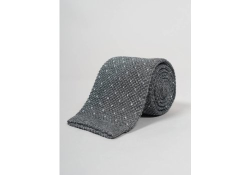 Seize sur Vingt Grey with White Dot Knit Tie