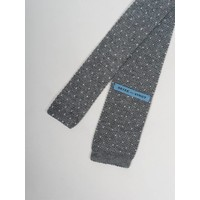 Grey with White Dot Knit Tie