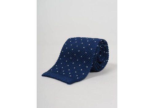 Seize sur Vingt Blue with White Dot Knit Tie