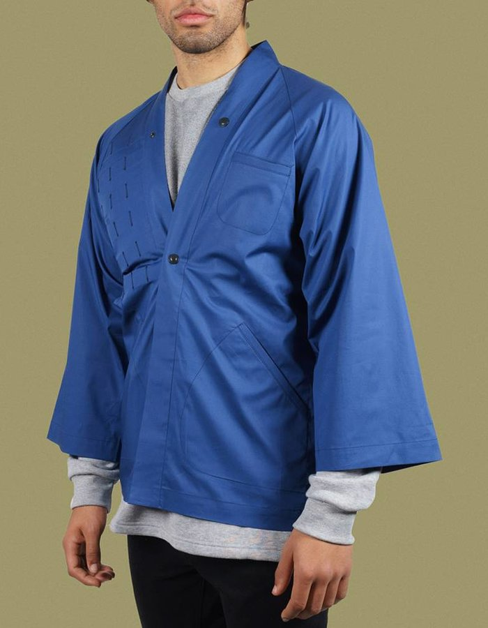 United Boroughs Kimono Overshirt Blue Cotton