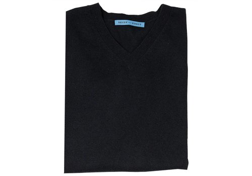 Seize sur Vingt Summer Weight Cashmere Sweater - Black