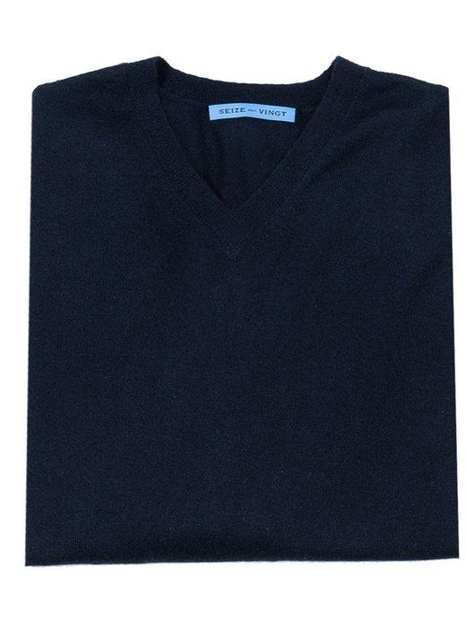 Seize sur Vingt Summer Weight Cashmere Sweater - Navy