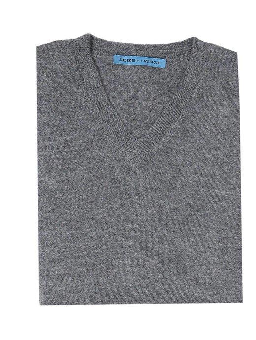 Seize sur Vingt Grey Cashmere V-neck
