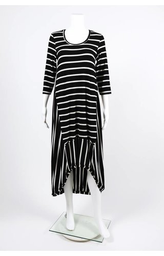 Alembika 3/4 Sleeve HiLo Striped Dress