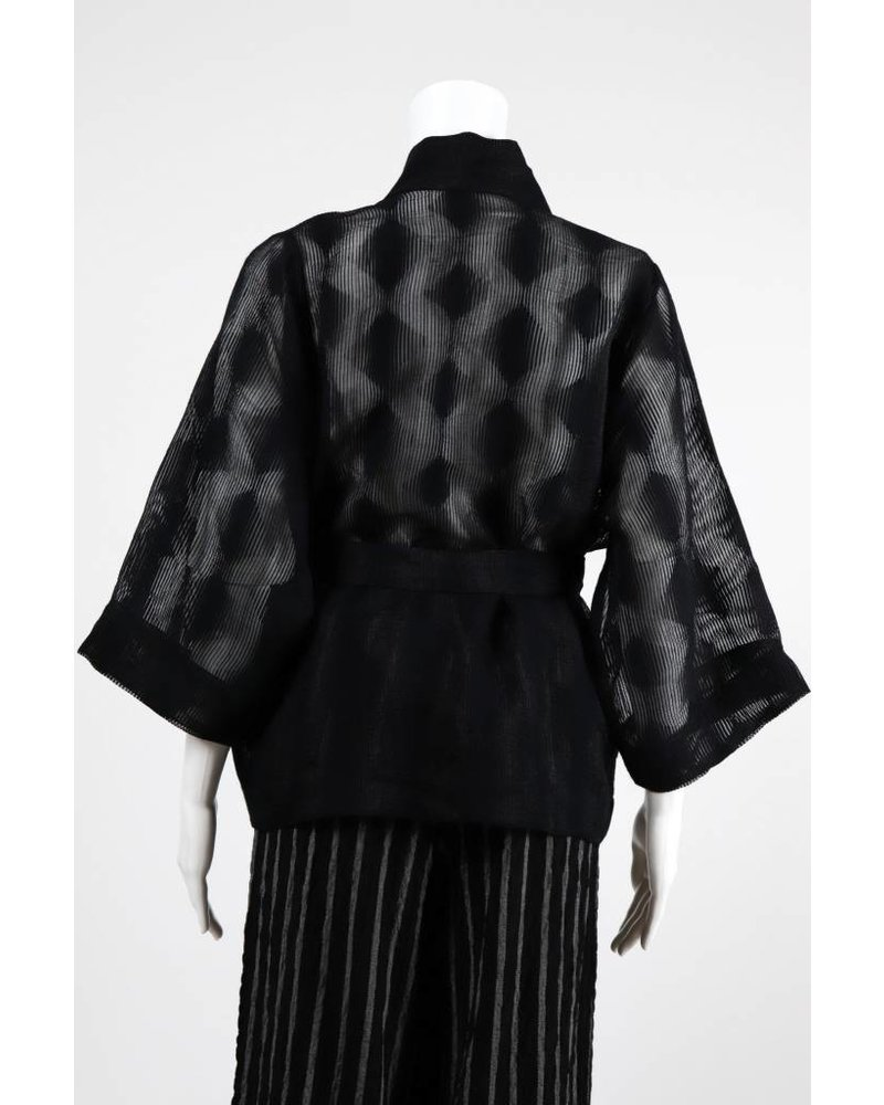 Alembika Sheer Dot 3/4 Sleeve Wrap Jacket