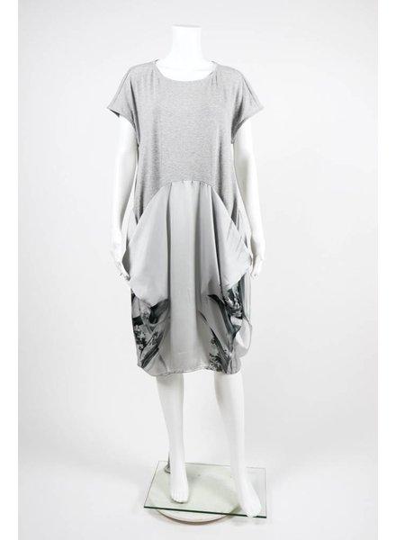 Alembika Short Sleeve Cotton Silk Floral Calia Dress