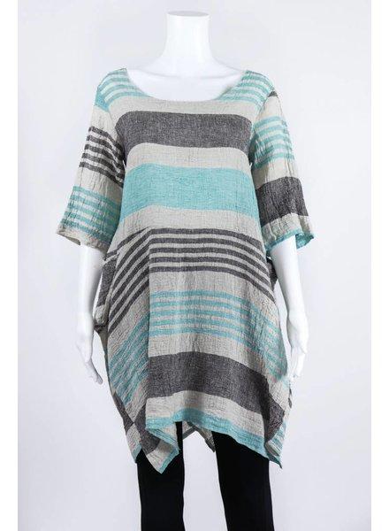 Luukaa Woven Short Sleeve Stripe Dress