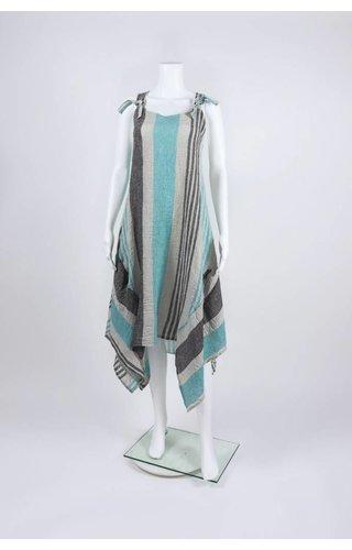 Luukaa Woven Knot Strap Multi Stripe Dress