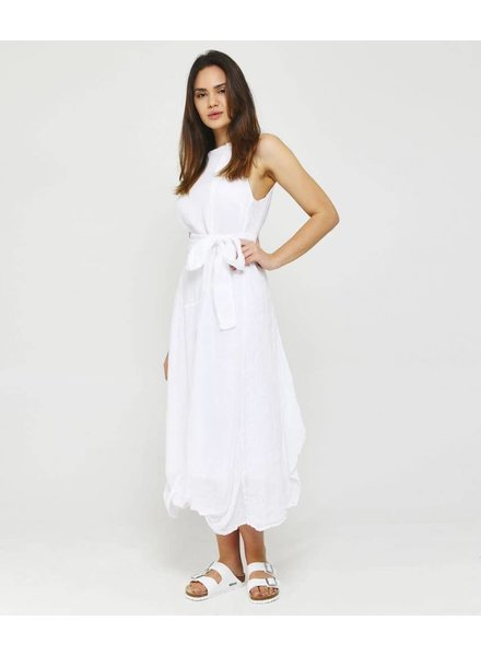 Grizas Linen Long Dress With Self Belt