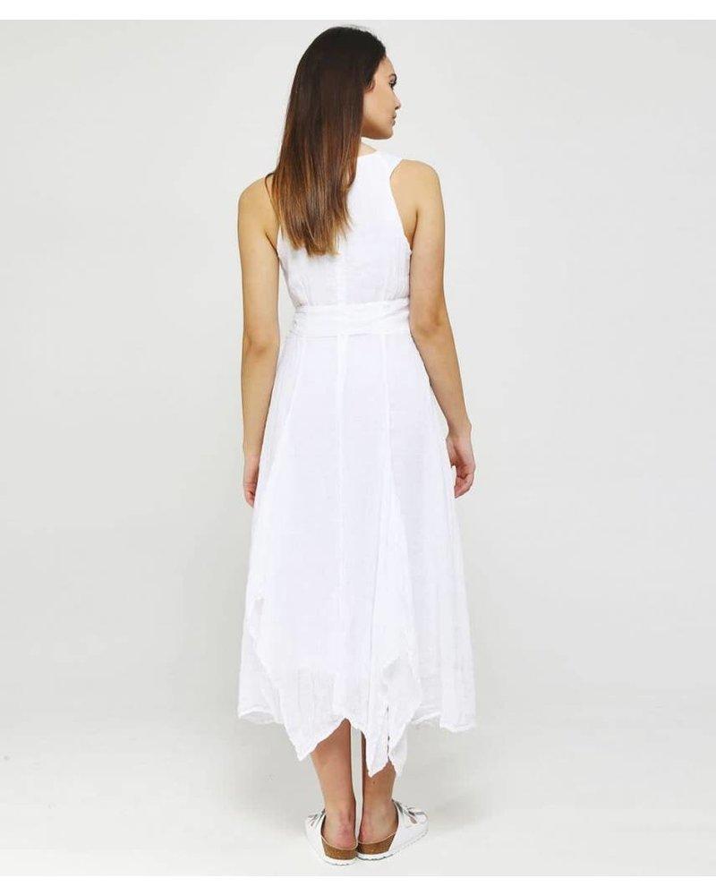 Grizas Linen Long Dress With Self Belt