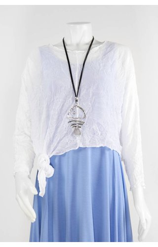Sandy Cooper Black Cord Fishbone Necklace