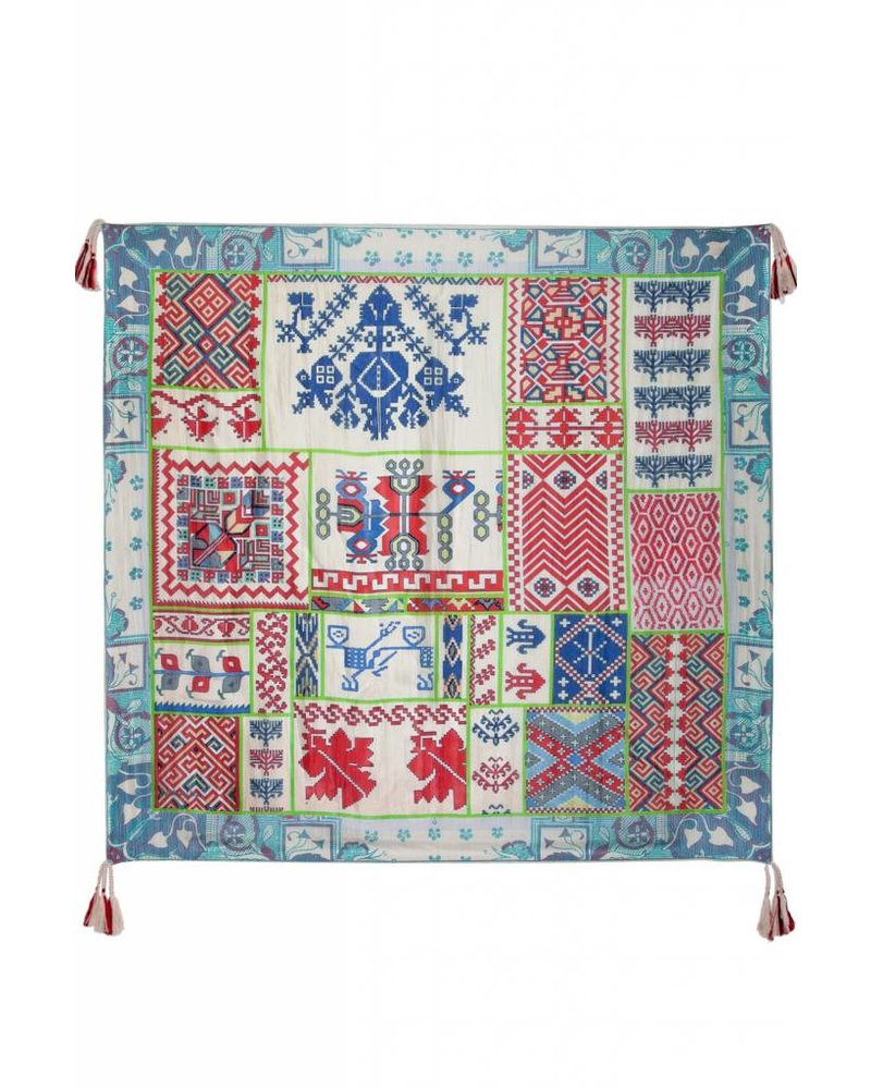 Johnny Was Blue / Red Aztec Print Scarf
