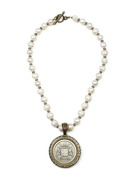 French Kande Faceted Bead Pyrite Cross Medallion Necklace