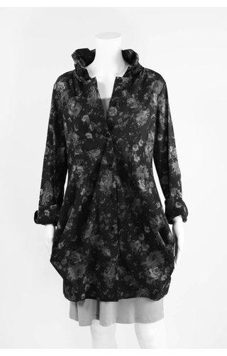 Comfy USA Floral Print Ruffle Neck Tunic