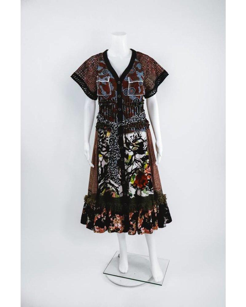 Byron Lars Beauty Mark Button Down Patterned Tie Dress