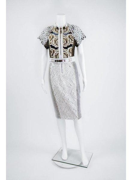 Byron Lars Beauty Mark Rose Lace Pow Dress With White Belt