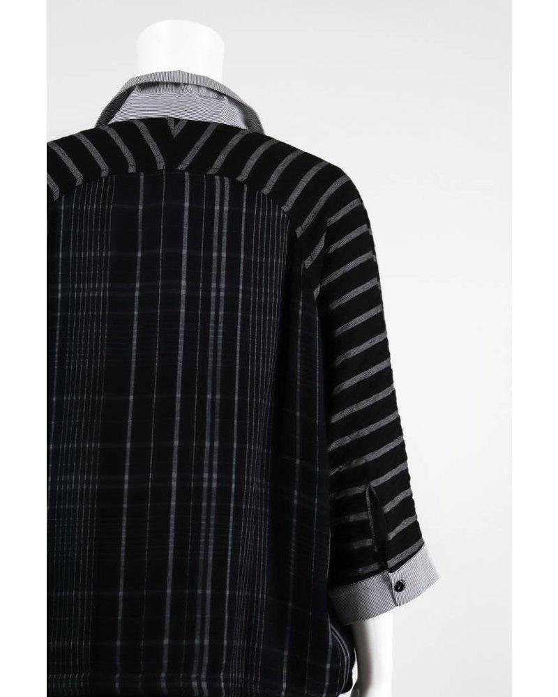 Alembika Dolman Button Front Stripe Top