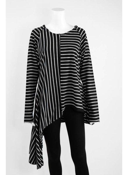 Creare Long Sleeve Stripe Asymmetrical Hem Knit Tunic