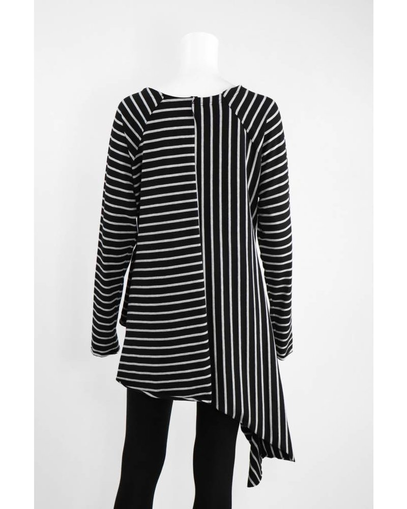 Creare Long Sleeve Stripe Asymmetrical Hem Knit Tunic