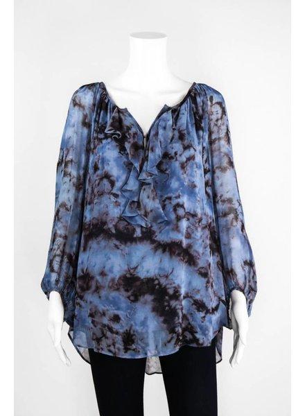 Lauren Vidal Silk Ruffle Top Blouse