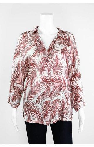Lauren Vidal Palm Silk V Neck Blouse