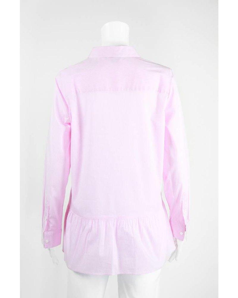 Inae Collection Ruffle Hem Pinstripe Peplum Shirt