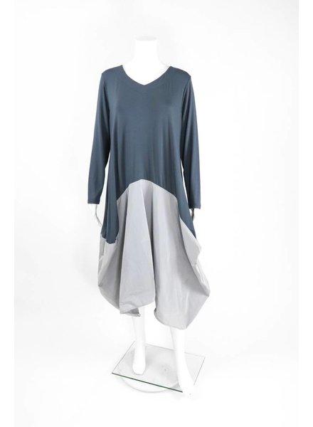 Luukaa Long Sleeve Jersey Satin Bottom Dress
