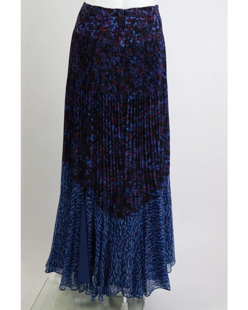 Rebecca Taylor Bouquet Pattern Side Slit Maxi Skirt