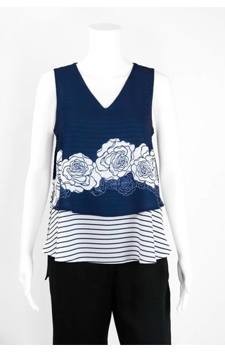 Isle Apparel High Society V Neck Sleeveless Blouse