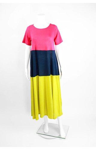 Alembika Short Sleeve Tri-Color Maxi Dress