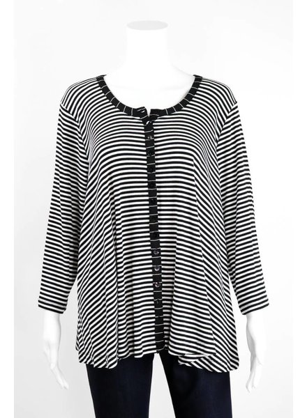 Alembika Horizontal Stripes Button Jacket