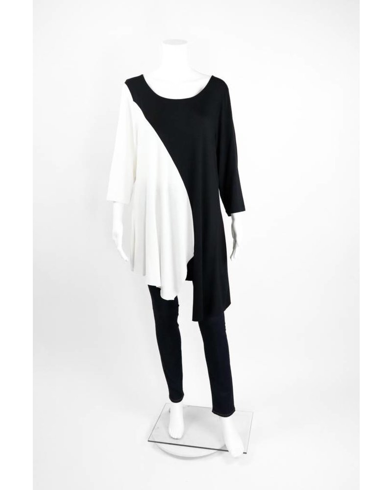 Alembika 3/4 sleeve Vertical Color Block Tunic