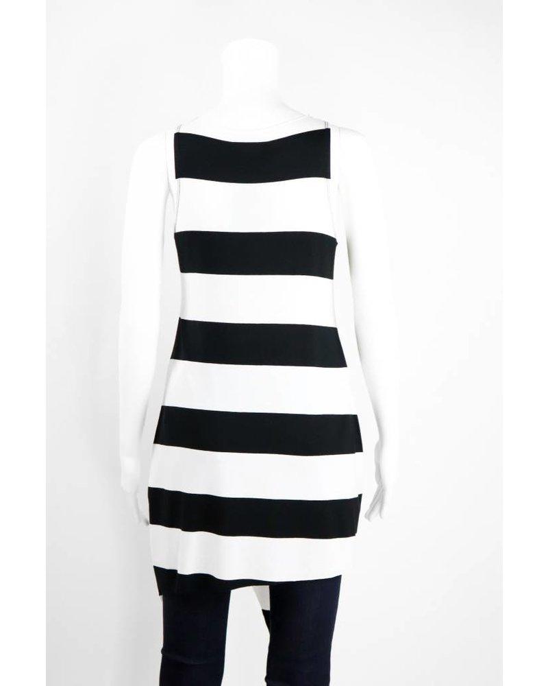 Alembika Asymmetrical Hem Sleeveless Bold Stripe Tank
